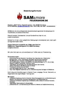Bewerbungsformular Sammore Feuershowde